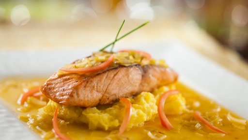 An appetizing salmon dinner at the Be Our Guest restaurant at Walt Disney World. This eatery is inspired by the Beauty and The Beast film of 1991. Tots will enjoy the ambience, their parents will be impressed by the quality of the cuisine.
