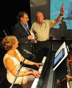 Doc Lawrence (on right) and Carl White rehearse with talented Jessica Borgnis