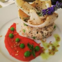 Calamari on Green Peas with Creamy Risotto and Fresh Mint (Les Trublions)